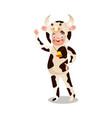 cute smiling happy girl in milk cow costume vector image vector image