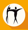 dancer icon on white circle with a long shadow vector image