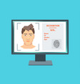 face recognition on screen monitor computer vector image