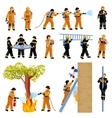Firefighter People Flat Color Icons Set vector image
