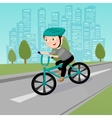 Happy Boy Riding on Bicycle in the City vector image vector image