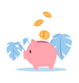 happy piggy bank with money golden coins vector image vector image