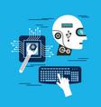head robot intelligence board circuit keyboard vector image vector image