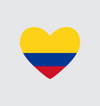 heart in colors of the colombia flag vector image vector image