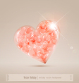 large glass heart filled with hearts vector image vector image