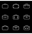 line briefcase icon set vector image
