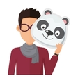 Man Without Face in Glasses with Panda Mask vector image vector image