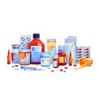 medical drugs pills and capsules set isolated icon vector image