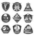 monochrome vintage cricket sport labels set vector image vector image