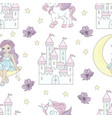 moon princess fairy tale seamless pattern vector image