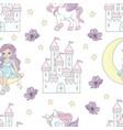 moon princess fairy tale seamless pattern vector image vector image