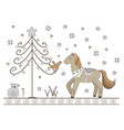 new year card with christmas tree horse and bird vector image vector image