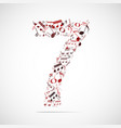 number seven made from music notes vector image