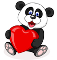 Panda with red heart vector image vector image