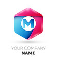 realistic letter m in colorful hexagonal vector image vector image