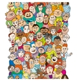 Seamless pattern with a funny cartoon people faces vector image vector image