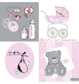 sef for girl include pram storn with baby bows vector image
