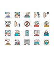 set face detection color line icons id vector image vector image