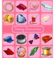 Set of items for mending clothes 16 icons vector image