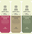 set of labels for wine with barrel and wine press vector image vector image