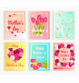six cute cards with hearts flowers for mom s day vector image