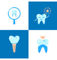stomatological clinic icon set in flat style vector image