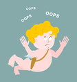 Surprised cupid says OOPS Amur perplexed Surprised vector image vector image