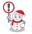 with sign snowman character cartoon style vector image vector image