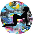 women silhouette cow yoga pose bitilasana vector image vector image