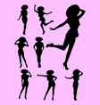 young woman wearing sombrero hat silhouette vector image