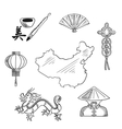 Chinese national symbols around a map vector image