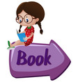 book sign with girl reading book on top vector image