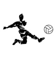 soccer player shooting in black and white vector image