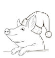 a pig sketch in a new year hat vector image vector image