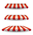 a set of striped red white awnings canopies for vector image