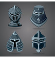 antique knight helmet set cartoon vector image