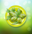 background with green olives on a green plate vector image