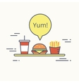 Big burger with french fries and milk shake on the vector image vector image