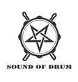 black snare drum with sticks logo symbol icon vector image