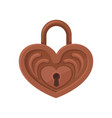 brown heart-shaped padlock vintage hanging lock vector image vector image