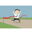 Businessman crossing the finish line vector image vector image