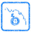 candlestick chart bitcoin crash framed stamp vector image vector image
