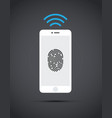 cell phone with finger print technology vector image vector image