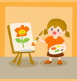 children little girl painting on canvas vector image vector image