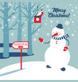 christmas background with snowman and snowflakes vector image vector image