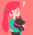 Cute Girl Having an Insight While Holding Her Dog vector image