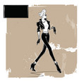 fashion woman in sketch style vector image