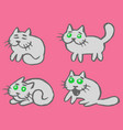 grey cats emoticons set isolated vector image vector image