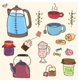 Hand drawn set of tea essentials - cups vector image vector image
