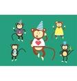 Happy cartoon monkey dancing party birthday vector image vector image